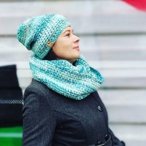 Luiza - komplet damski - czapka i komin