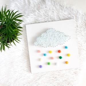 Obrazek pokój dziecka Kolorowy deszcz Chmura z kolorowym deszczem String Art