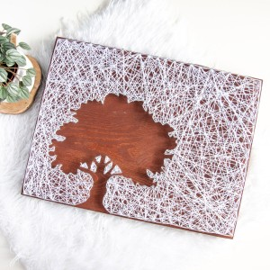 Obraz drewniany Drzewo Dąb Rustykalny BOHO String Art