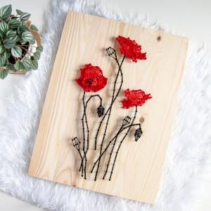 Obraz drewniany na drewnie Maki Polne kwiaty Wieś String Art