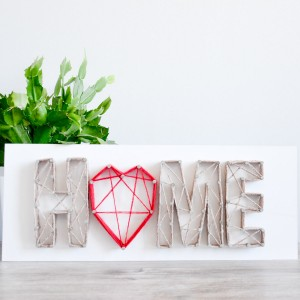 Obraz Home sweet home serce Parapetówka Deska Dom String Art