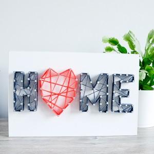 Obraz Home serce Parapetówka Deska Biel String Art