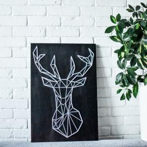 Obraz na ścianę Jeleń String Art Czarne Drewno Sosna Skandynawski boho