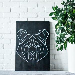 OBRAZ NA ŚCIANĘ Niedźwiedź STRING ART CZARNE DREWNO SOSNA SKANDYNAWSKI BOHO