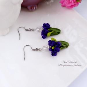 Kolczyki z fioletowymi tulipanami