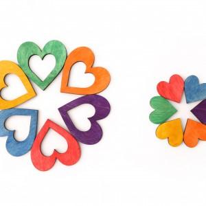 Serca układanka, puzzle + karty pracy, Montessori