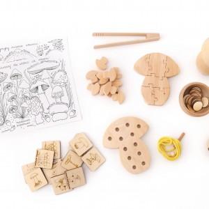 Montessori zestaw, grzybki drewniane