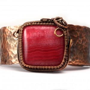 Rodochrozyt i miedź Miedziana bransoletka z rodochrozytem ręcznie wykonana prezent dla niej prezent dla mamy prezent regulowana