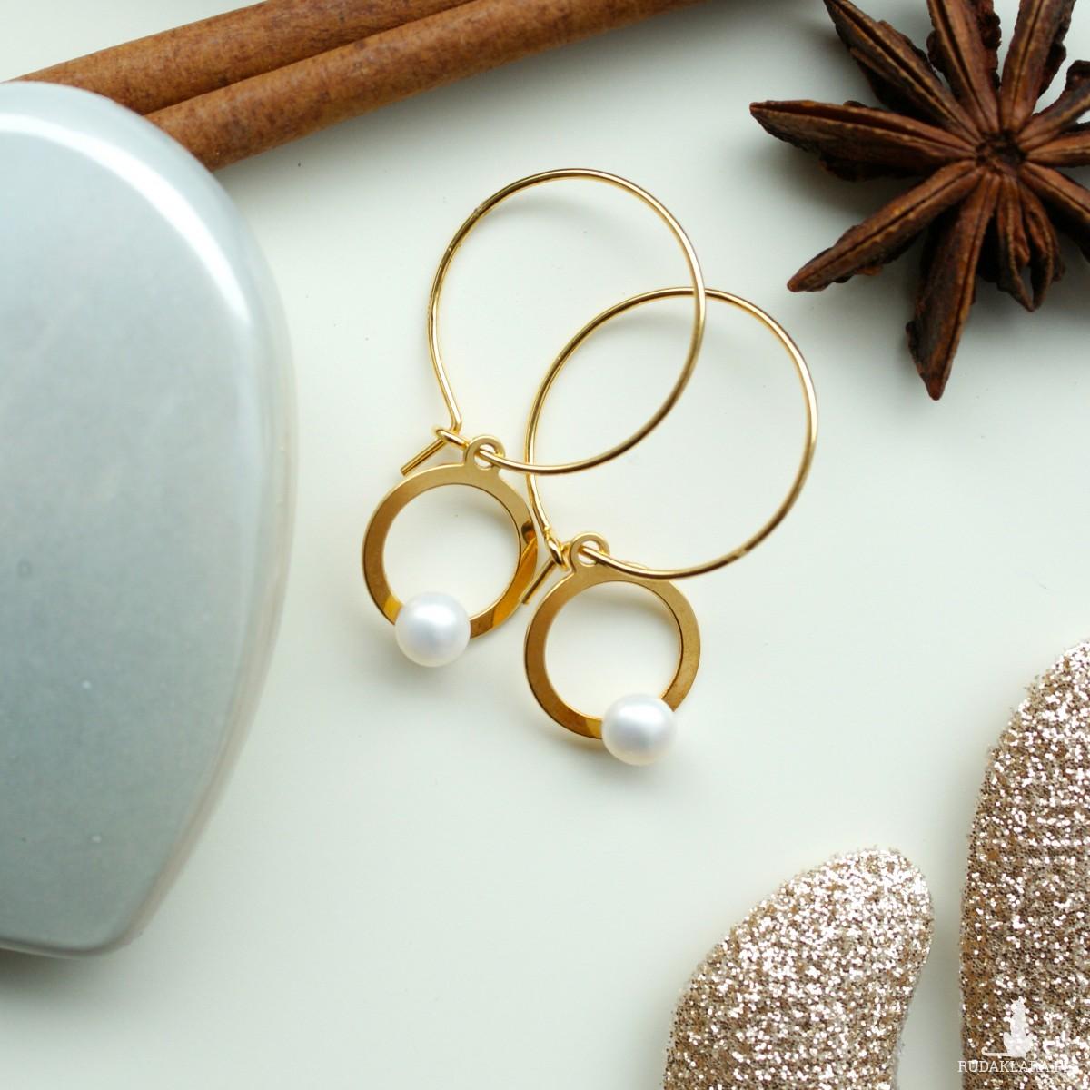 Kolczyki Koła Z Naturalną Perłą Srebro 925 Złocone