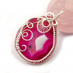 Geoda Agatu, Srebrny wisior z różowo agatem, ręcznie wykonany, prezent dla niej, prezent dla mamy, prezent urodzinowy, biżuteria, walentynki