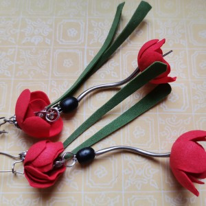 kolczyki wiszące etno kwiatowe boho