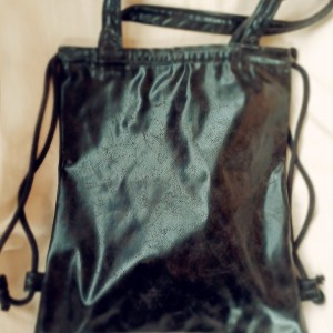 Plecak torba 2w1 metaliczna czarna ekoskóra