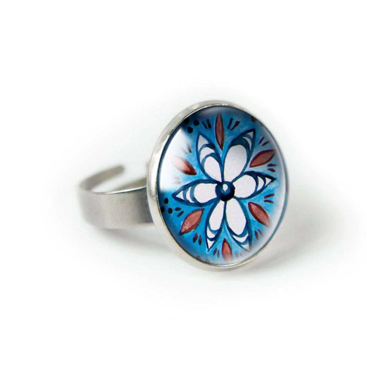 Blue folk pierścionek