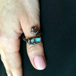 szamański pierścionek z labradorytem