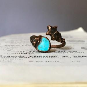 miedziany pierścionek z turkusem i gwiazdką