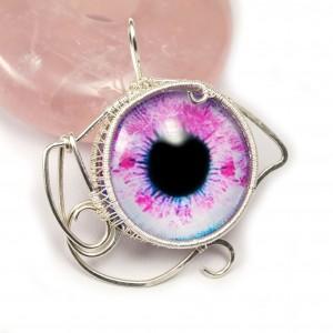 Srebrny wisior ze szklanym kaboszonem - oko, różowe, prezent dla niej, prezent dla żony, prezent pod choinkę prezent dla kobiety, walentynki