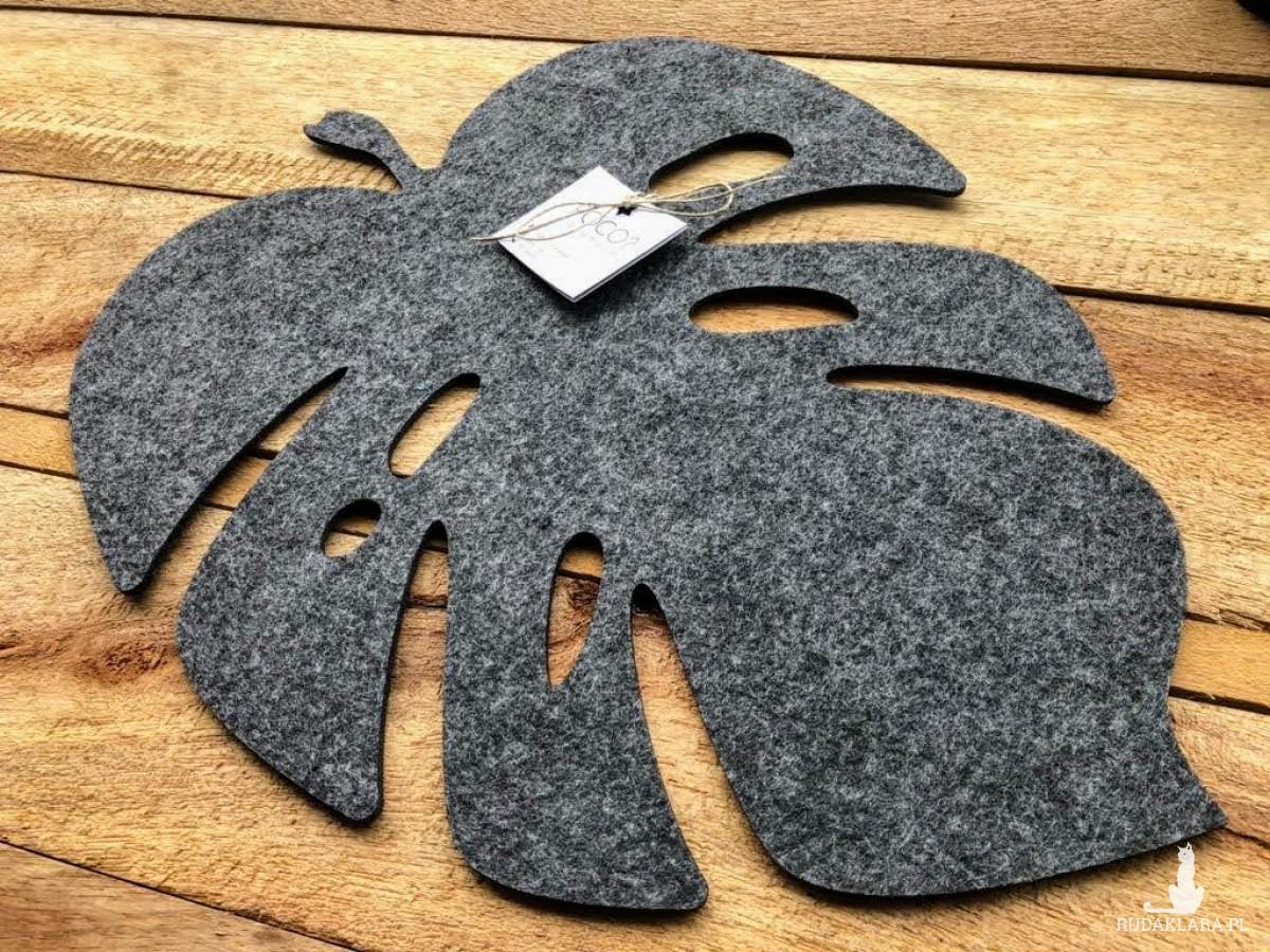 Podkładka filcowa liść Monstery - zestaw szary