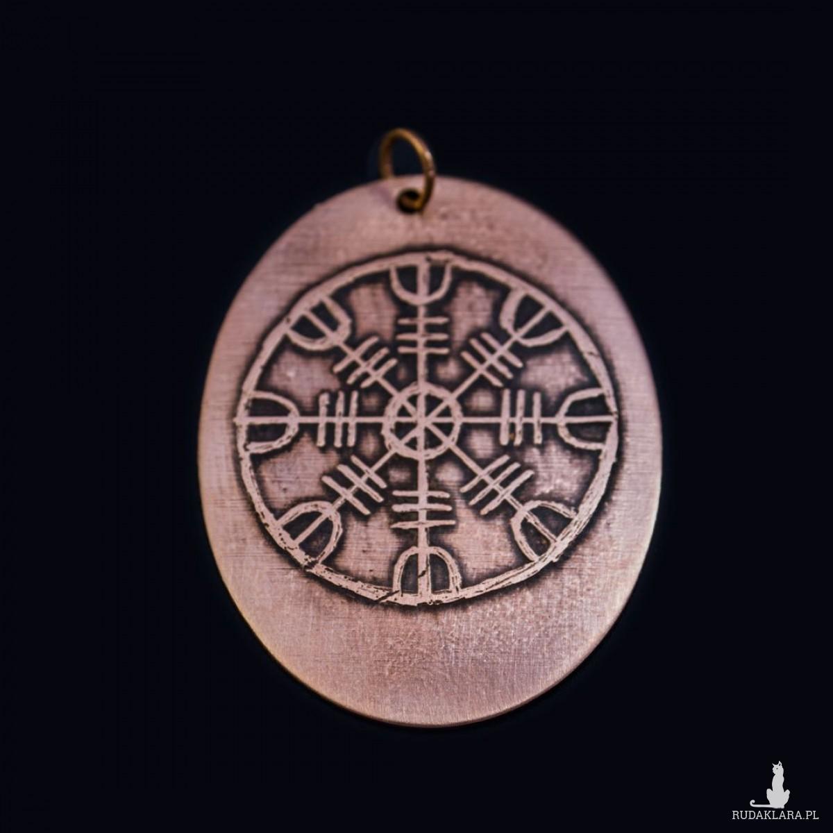 Tarcza algizowa (Aegishjalmur) - wisior miedziany