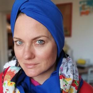 czapka turbanowa etno boho niebieska