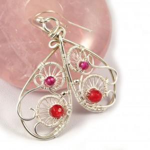 Srebrne kolczyki z fasetowanym rubinem i agatem ręcznie wykonane, prezent dla niej, prezent dla mamy, prezent urodzinowy, biżuteria autorska