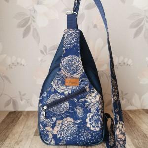 Plecak kompaktowy dwukomorowy ekoskóra handmade na ramię kwiaty niebieski