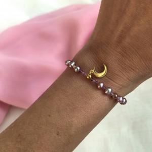 Bransoletka z pereł i księżycem perły perełki