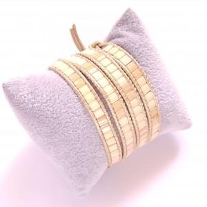 Kremowo-beżowa bransoletka owijana