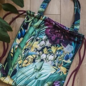 Plecak torba 2w1 zielony w kwiaty