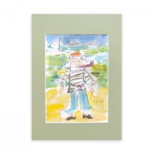 żeglarz akwarela, pirat obrazek malowany ręcznie, marynistyczny obraz, marynarz rysunek