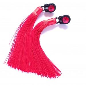 Czerwono czarne kolczyki sutasz z chwostami