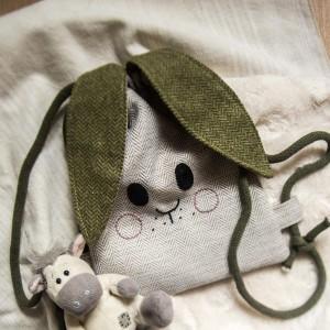 Mini plecak króliczek w jodełkę zielone uszy