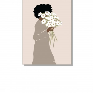 """Grafika """"Kobieta z bukietem"""", prezent na Dzień Matki"""
