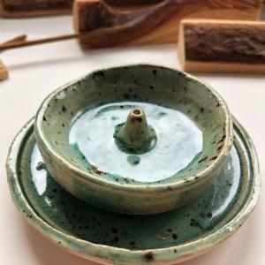 PALOLOPULI DUET podstaweczka pod kadzidełko wraz z talerzykiem
