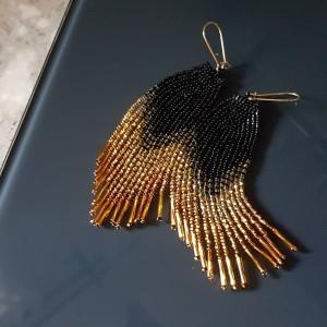 Kolczyki Koralikowe Czarne Złoto