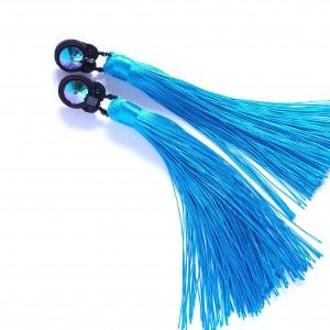 Błękitne kolczyki sutasz z chwostami
