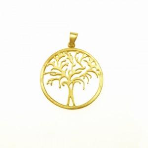 Drzewko pozłacane - zawieszka srebrna