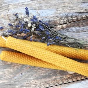Zestaw prezentowy świece stołowe z węzy pszczelej