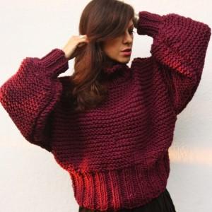 Burgundowy sweter merino handmade