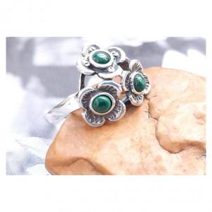 111 pierścionek vintage, srebrny pierścionek, niezapominajki