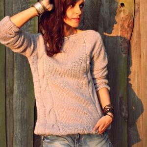 Szary sweter handmade moher