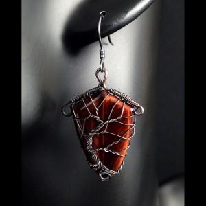 Tygrysie oko, Miedziane kolczyki drzewko szczęścia, ręcznie wykonane prezent dla niej prezent dla mamy prezent urodzinowy biżuteria autorska