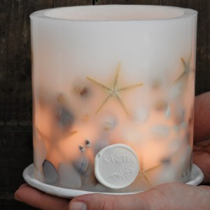 MORSKIE SKARMY-lampion z ceramiczną podstawką