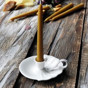 Zestaw świec z wosku pszczelego z kagankiem