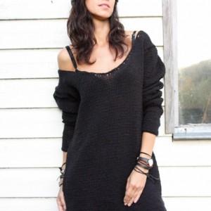 Czarny sweter sukienka  handmade