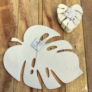 Podkładka filcowa liść Monstery - zestaw biały