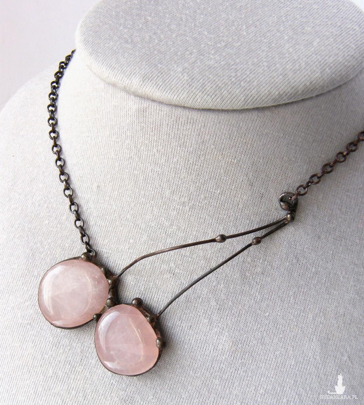 Naszyjnik kwarc różowy grono