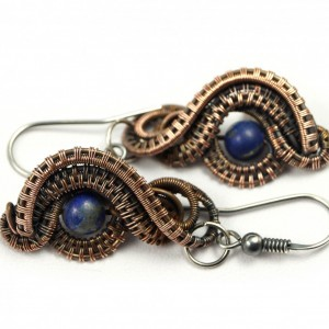 Lapis, Miedziane kolczyki z Lapis lazuli, patynowane, ręcznie wykonane, prezent dla niej, prezent dla mamy, prezent urodzinowy, biżuteria