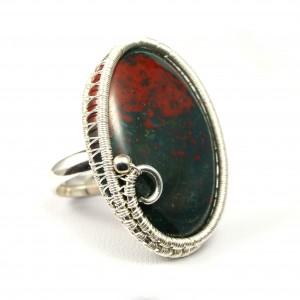 Heliotrop, Srebrny regulowany pierścionek z kamieniem krwistym, ręcznie wykonany, prezent dla niej, prezent dla mamy, prezent urodzinowy,