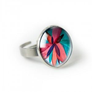 Czerwony kwiat pierścionek