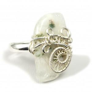 Agat mszysty, Srebrny pierścionek z agatem, ręcznie wykonany, prezent dla niej, prezent dla mamy, prezent urodzinowy, biżuteria autorska